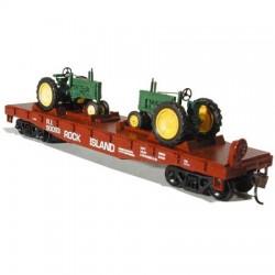 140-8150 HO 40' Flat Car w/ Model B Tractor John D_13491