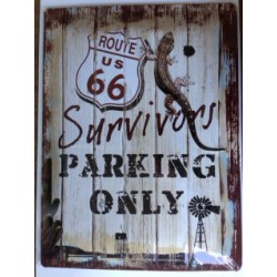 Wandblech Route 66 Survivors Parking Only_18331