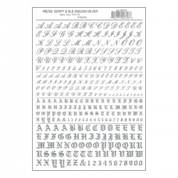 Dry Transfer Decals Script & Old English silber_3290