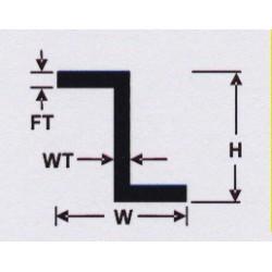 Polystyrol Z-Profil 35 cm H:1,5mm W:0,7mm 4Stk_34878
