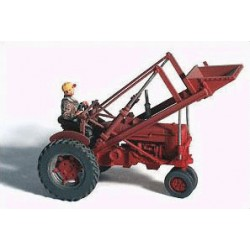 284-60005 HO 1950s Red Farm Tractor with loader_39455