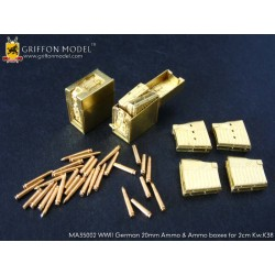 Grif-MA35002 1:35 WWII German 20mm Ammo& Boxes (Co_39844