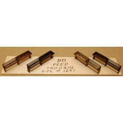 HO Feed Troughs pkg(4) - Kit (Laser-Cut Wood)