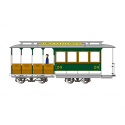 HO DC Cable Car with Grip Man Green Gray_50145