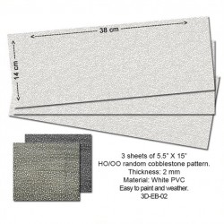 HO Embossed PVC Sheets (Random Cobbleston) (3 Stk)_53848