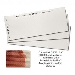 HO Embossed PVC Sheets (Brick Pattern) (3 Stk)_53851