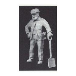 PHO-100 1:43 Figuren unbemalt, Arbeiter m.Schaufel_55105