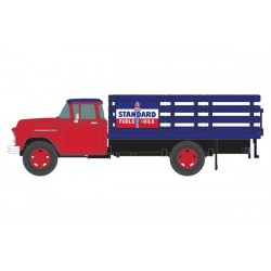 HO 1955 Chevy Stakebed Truck - Standard (red, blue