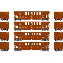 HO 40' 3-bay ribbed hopper Herzog (4 Car) Set 1_56678