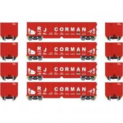 HO 40' 3-bay ribbed hopper RJ Corman (4 Car) Set 2_56686