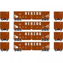 HO 40' 3-bay ribbed hopper Herzog (4 Car) Set 2_56687
