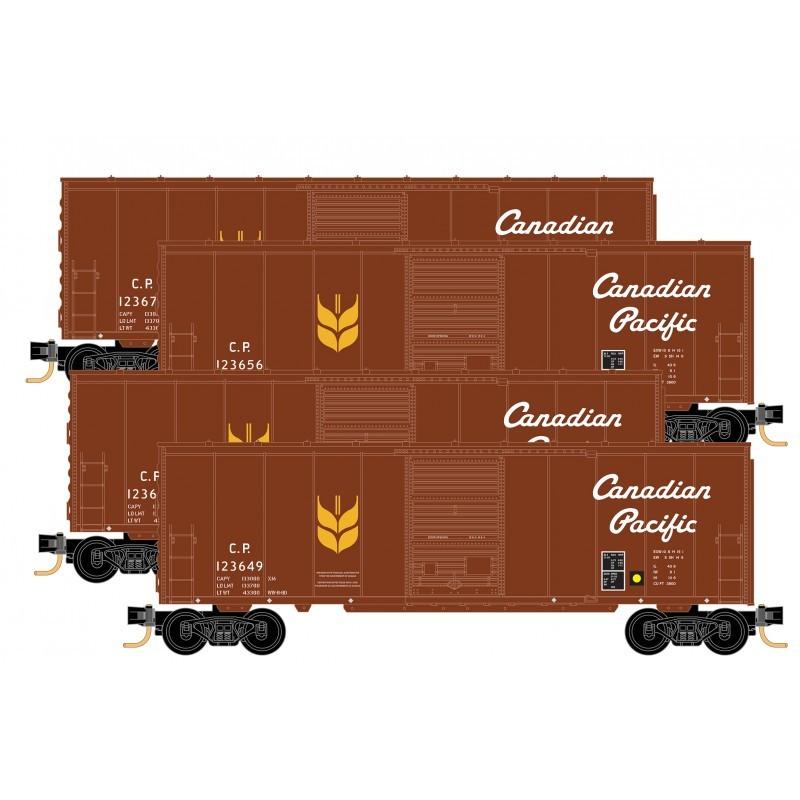 N 40' Standard Box Car, sgl door, CP 4-pack_58716