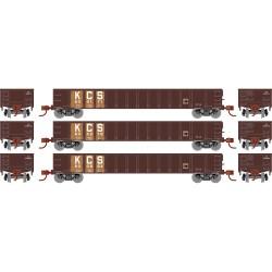 """HO 52 Mill Gondola KCS 3-car set """"primed to grime""""_68828"""