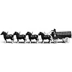 360-105 HO Horse-Drawn Beer Delivery Wagon_9053